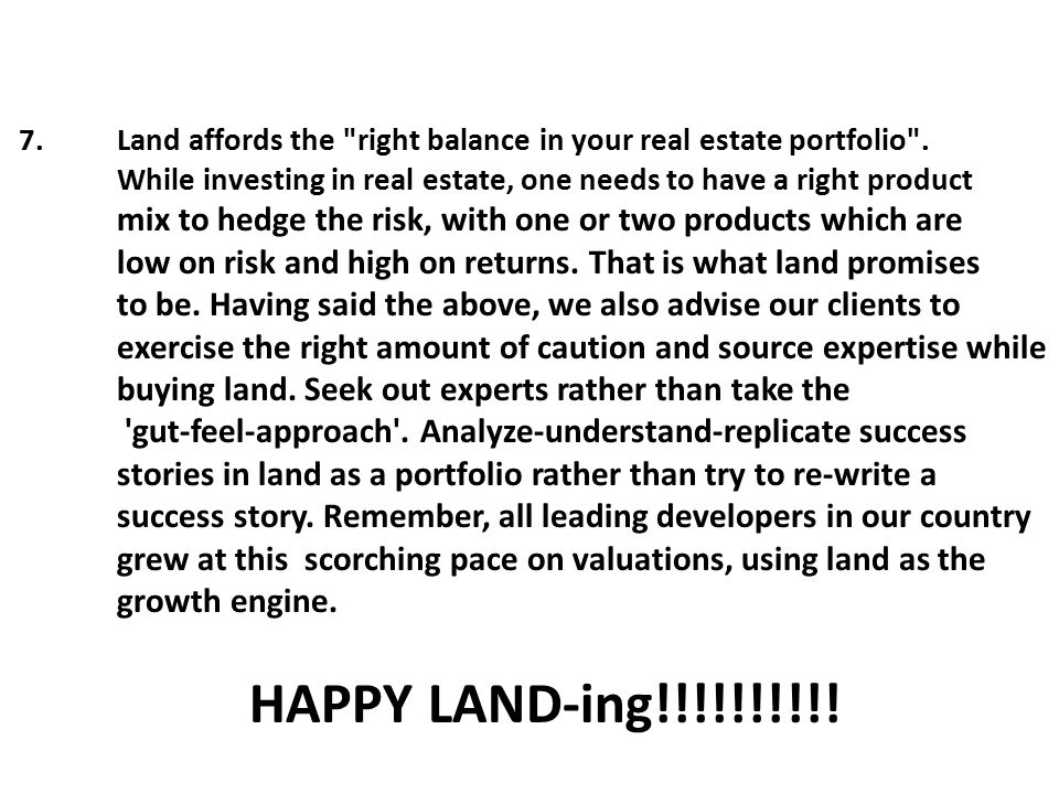 7. Land affords the