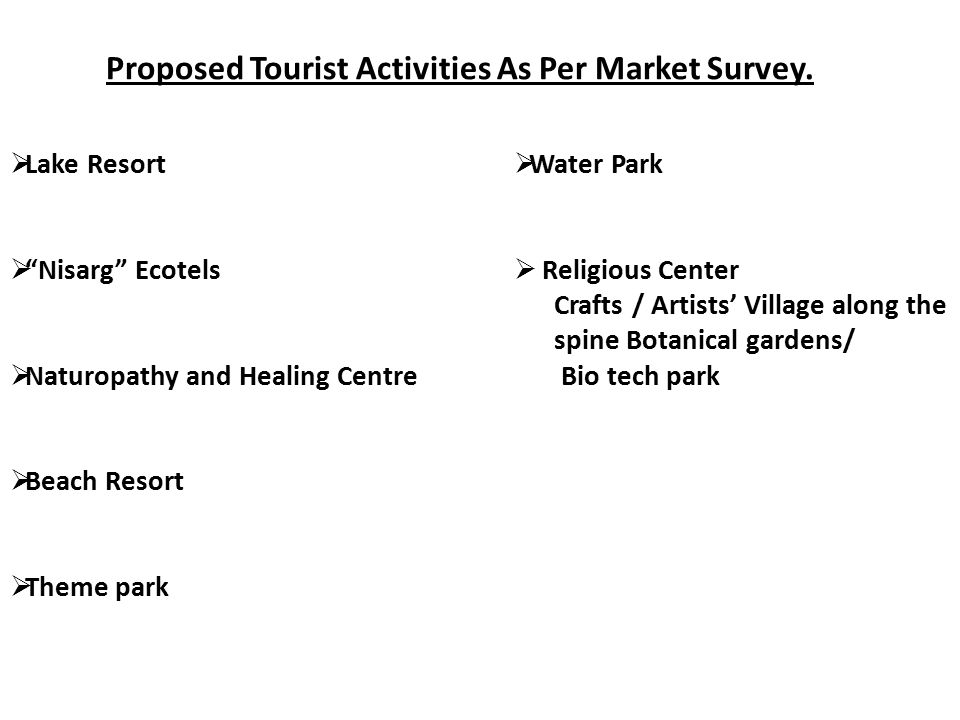 """Proposed Tourist Activities As Per Market Survey.  Lake Resort  """"Nisarg"""" Ecotels  Naturopathy and Healing Centre  Beach Resort  Theme park  Wate"""