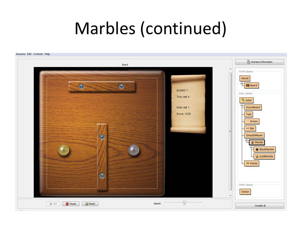 Marbles (continued)