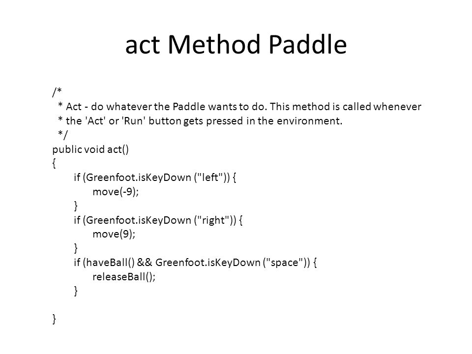 act Method Paddle /* * Act - do whatever the Paddle wants to do.