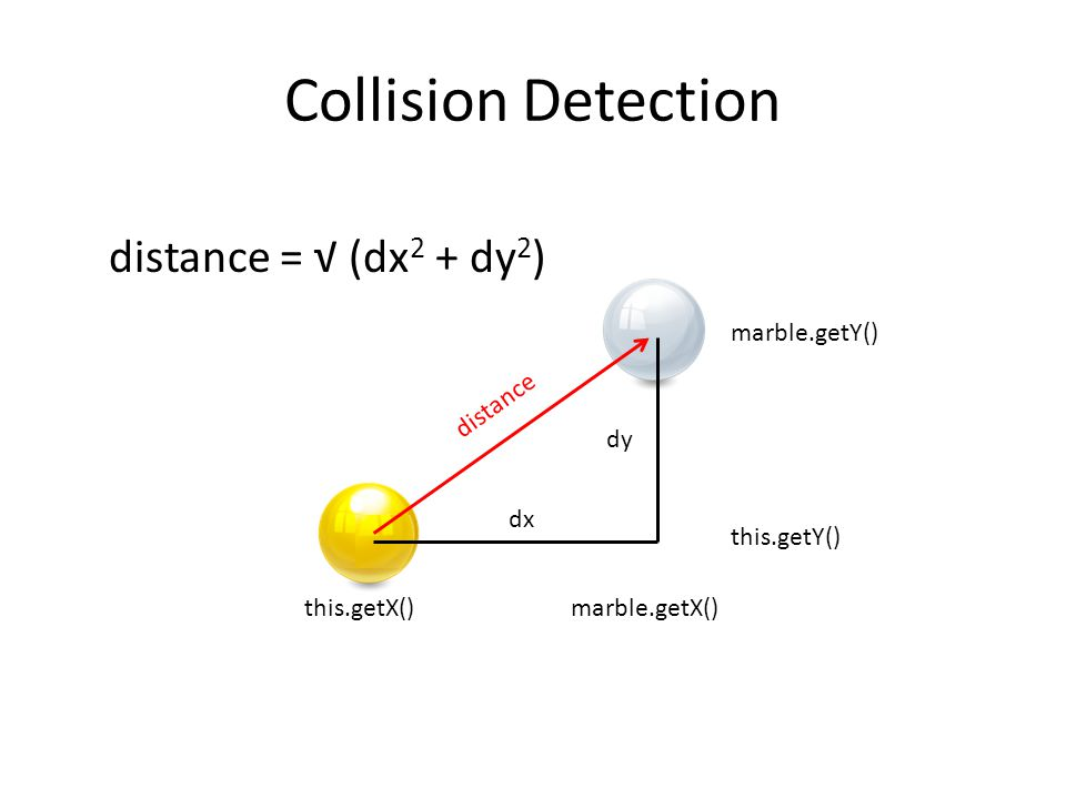 Collision Detection this.getX()marble.getX() marble.getY() this.getY() dx dy distance = √ (dx 2 + dy 2 ) distance