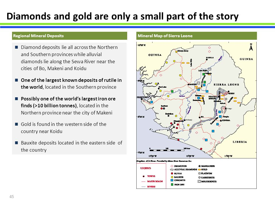 45 Diamonds and gold are only a small part of the story Mineral Map of Sierra Leone Diamond deposits lie all across the Northern and Southern province