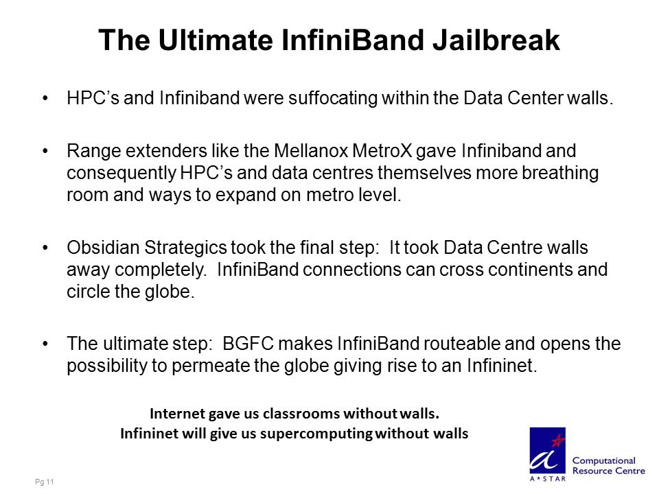 The Ultimate InfiniBand Jailbreak HPC's and Infiniband were suffocating within the Data Center walls.