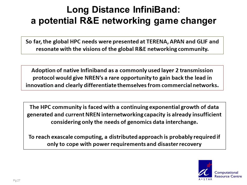 Long Distance InfiniBand: a potential R&E networking game changer Pg 27 So far, the global HPC needs were presented at TERENA, APAN and GLIF and resonate with the visions of the global R&E networking community.