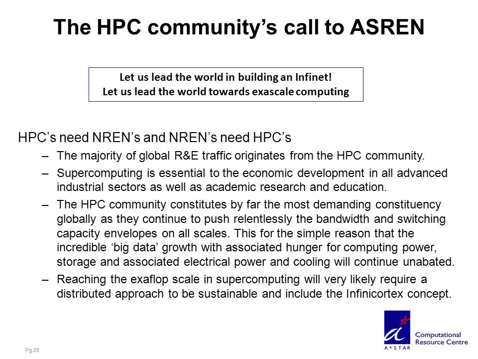 The HPC community's call to ASREN HPC's need NREN's and NREN's need HPC's –The majority of global R&E traffic originates from the HPC community.