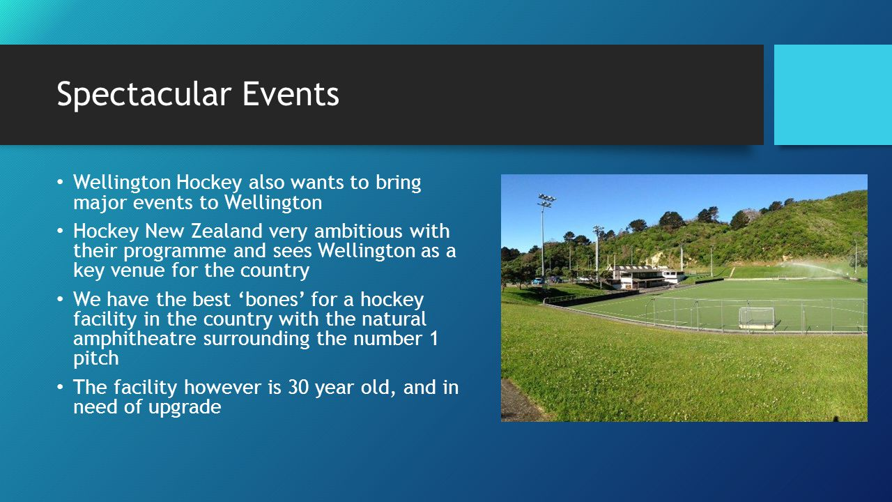 Spectacular Events Wellington Hockey also wants to bring major events to Wellington Hockey New Zealand very ambitious with their programme and sees Wellington as a key venue for the country We have the best 'bones' for a hockey facility in the country with the natural amphitheatre surrounding the number 1 pitch The facility however is 30 year old, and in need of upgrade