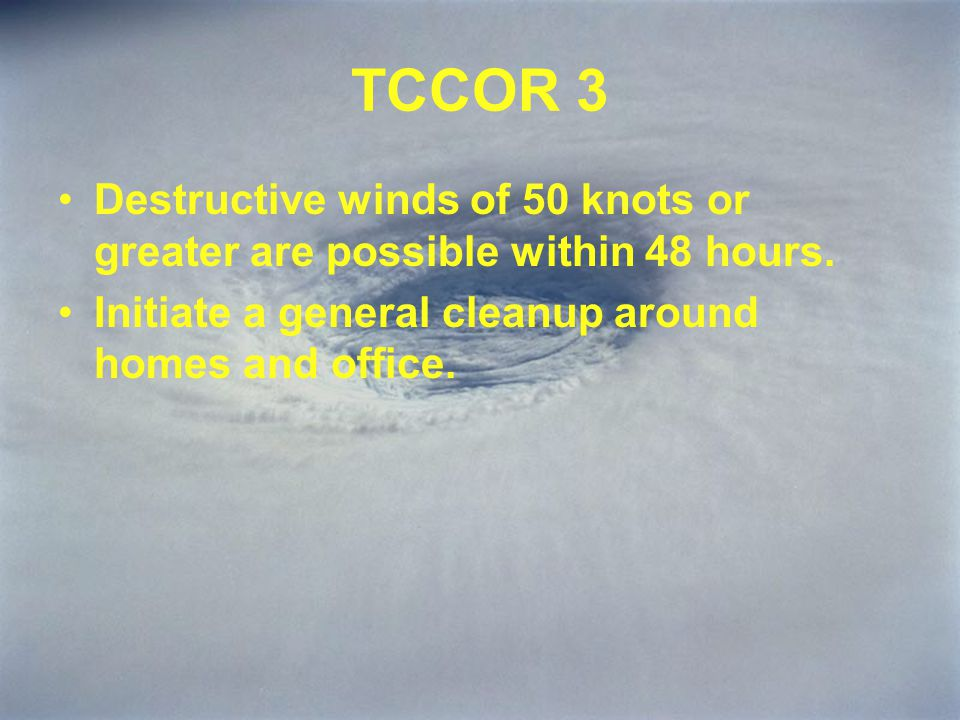 TCCOR 3 Activities aboard Military Installations will continue without interruption.