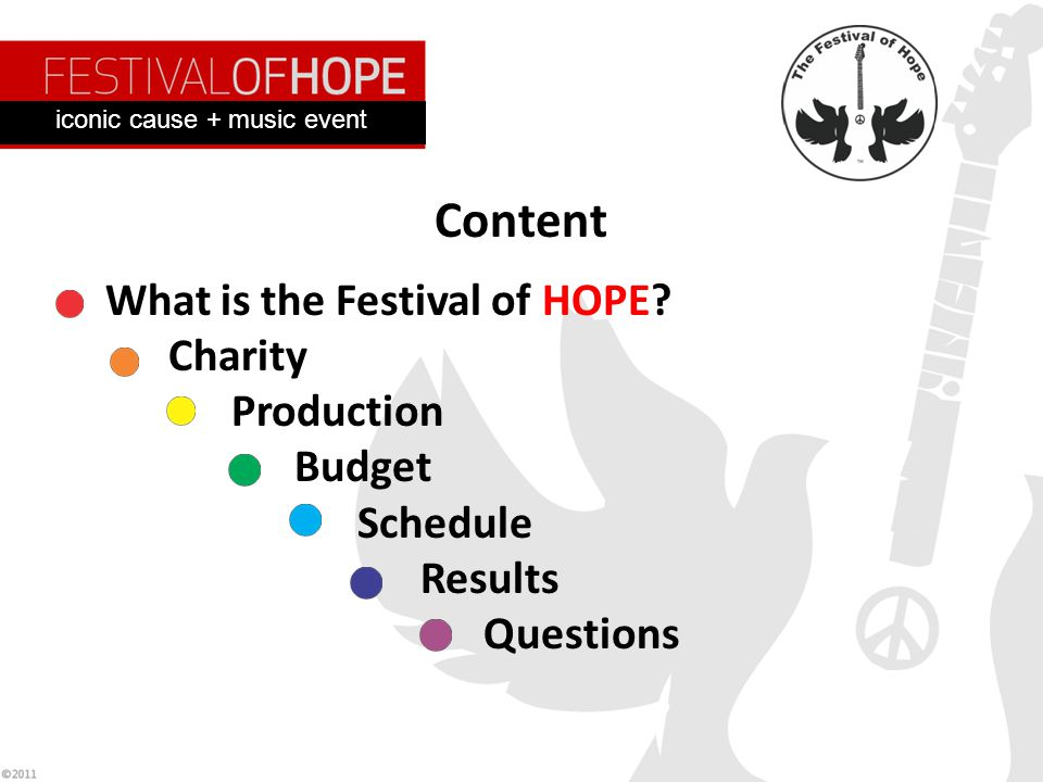 iconic cause + music event Content What is the Festival of HOPE.