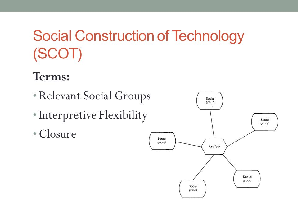 Social Construction of Technology (SCOT) Terms: Relevant Social Groups Interpretive Flexibility Closure