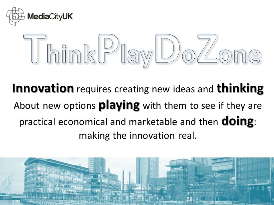 Innovation thinking playing doing Innovation requires creating new ideas and thinking About new options playing with them to see if they are practical economical and marketable and then doing : making the innovation real.
