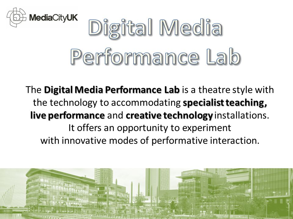 Digital Media Performance Lab specialist teaching, The Digital Media Performance Lab is a theatre style with the technology to accommodating specialist teaching, live performance creative technology live performance and creative technology installations.