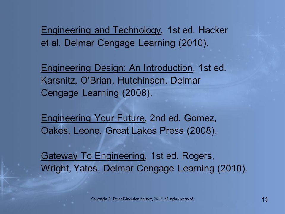 Engineering and Technology, 1st ed.Hacker et al. Delmar Cengage Learning (2010).