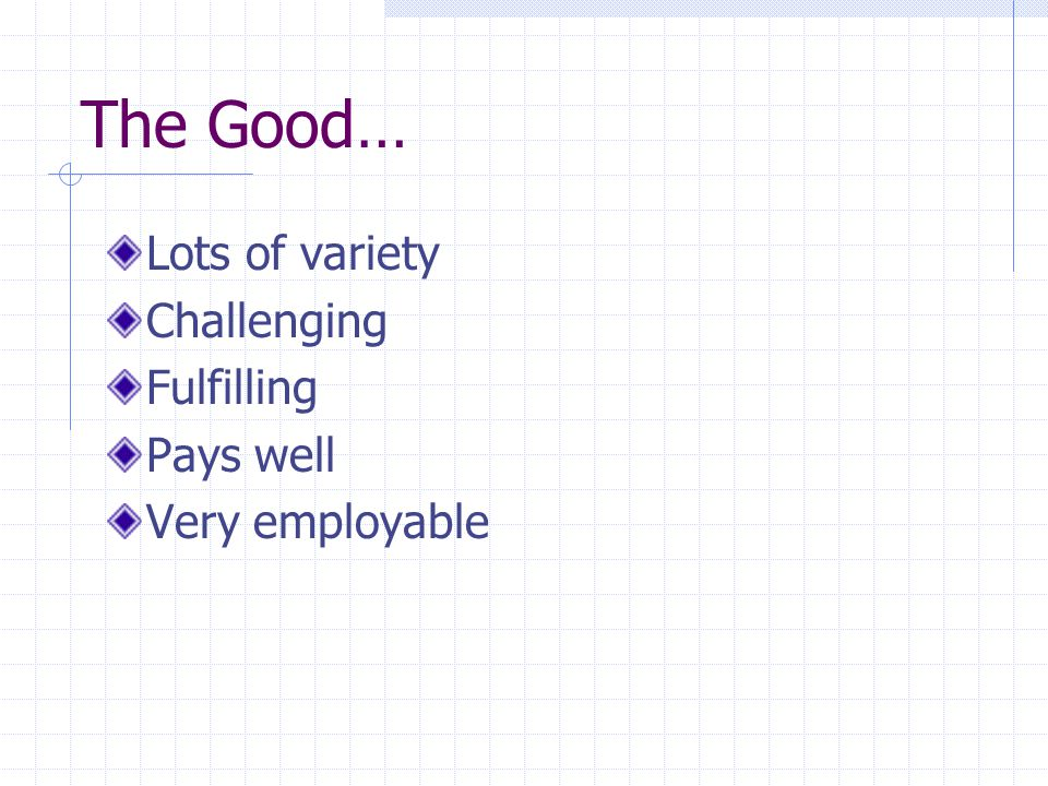 The Good… Lots of variety Challenging Fulfilling Pays well Very employable
