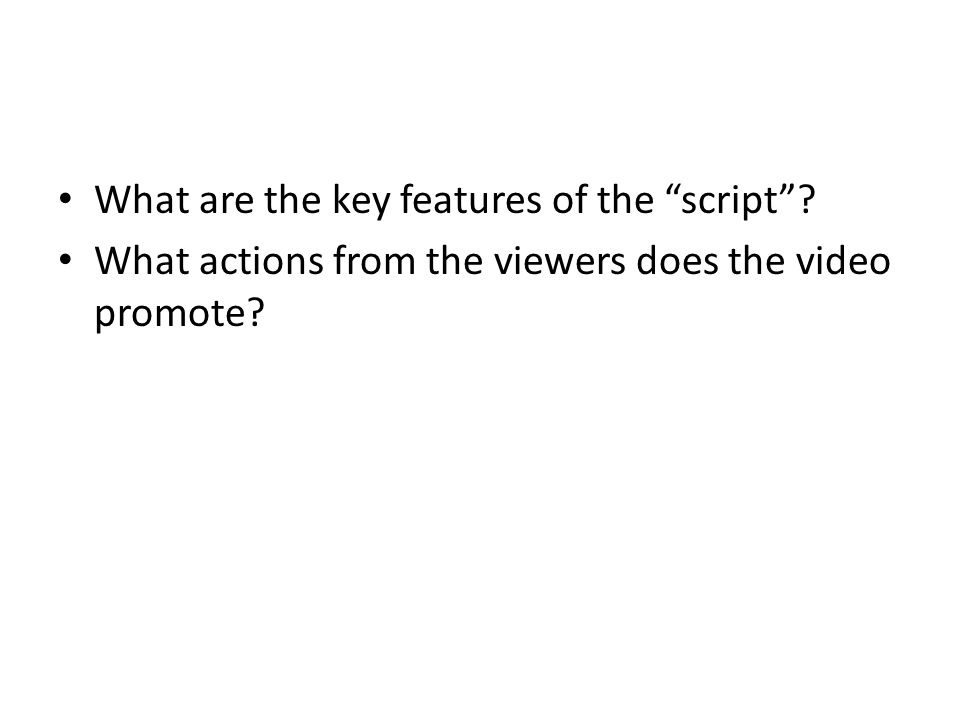 What are the key features of the script ? What actions from the viewers does the video promote?
