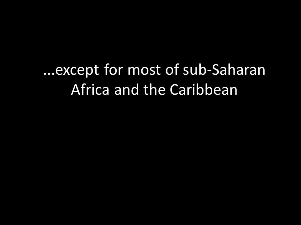 ...except for most of sub-Saharan Africa and the Caribbean