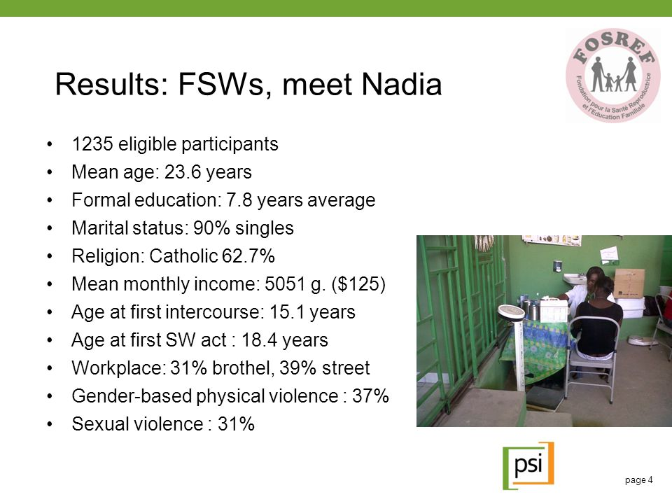 Results: FSWs, meet Nadia 1235 eligible participants Mean age: 23.6 years Formal education: 7.8 years average Marital status: 90% singles Religion: Ca