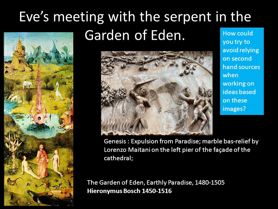 Eve's meeting with the serpent in the Garden of Eden. The Garden of Eden, Earthly Paradise, 1480-1505 Hieronymus Bosch 1450-1516 Genesis : Expulsion f