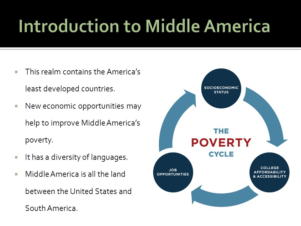 1.Middle America contains the America's least developed countries.