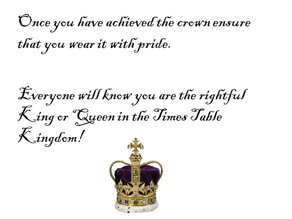 Once you have achieved the crown ensure that you wear it with pride. Everyone will know you are the rightful King or Queen in the Times Table Kingdom!