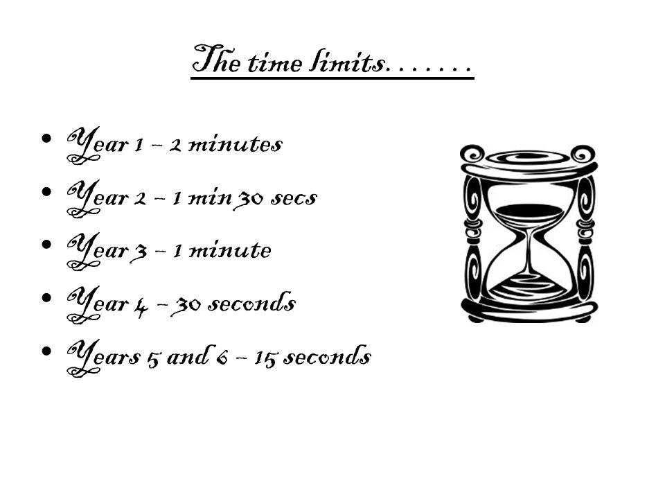The time limits……. Year 1 – 2 minutes Year 2 – 1 min 30 secs Year 3 – 1 minute Year 4 – 30 seconds Years 5 and 6 – 15 seconds