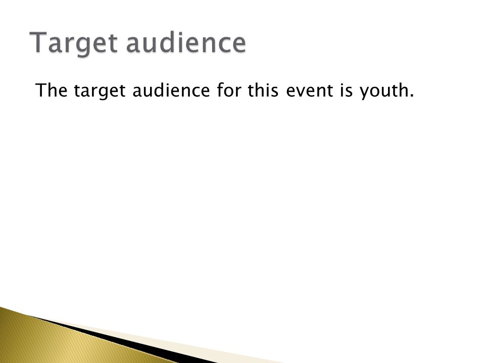 The target audience for this event is youth.