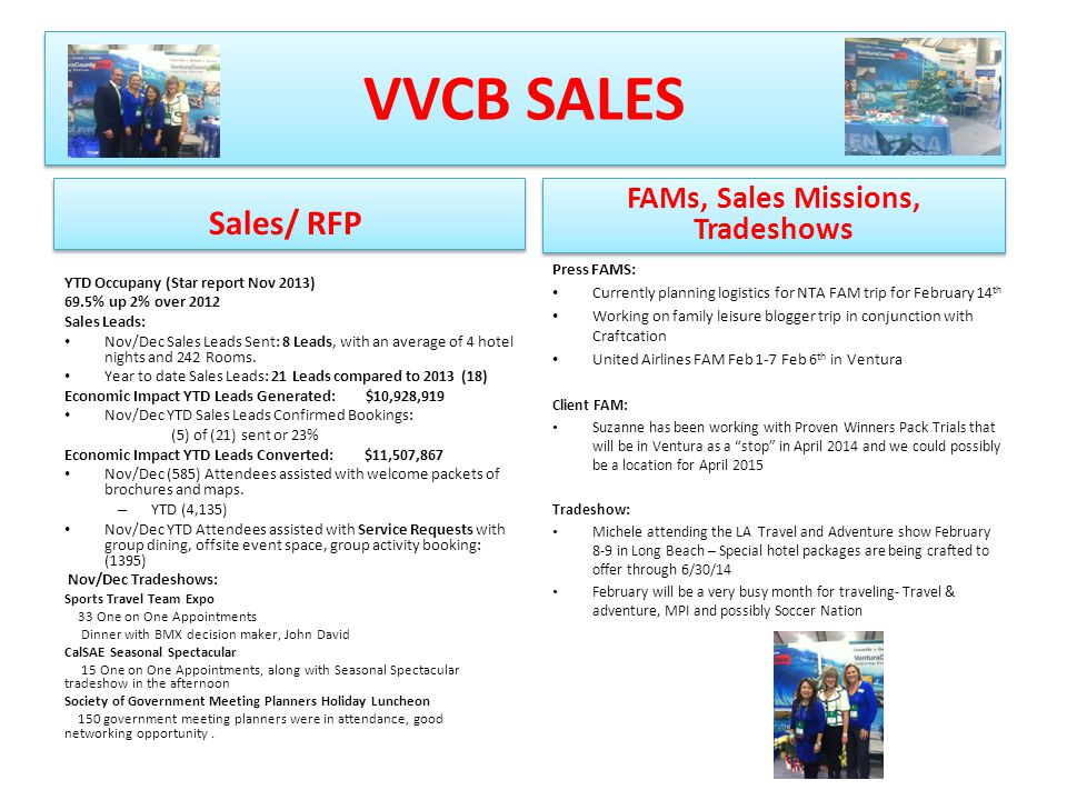 VVCB SALES Sales/ RFP YTD Occupany (Star report Nov 2013) 69.5% up 2% over 2012 Sales Leads: Nov/Dec Sales Leads Sent: 8 Leads, with an average of 4 h