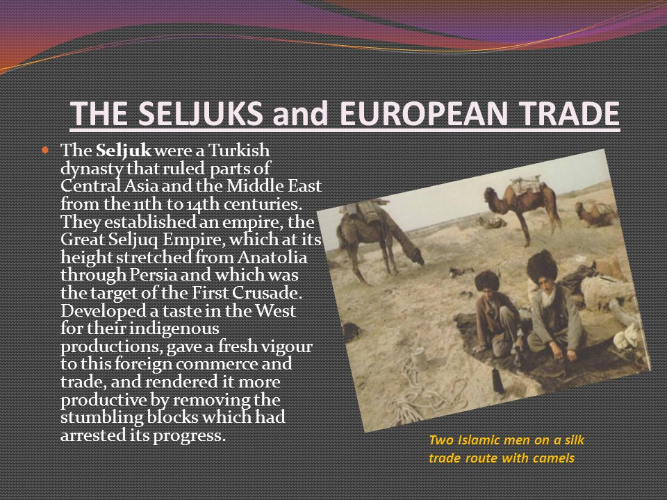 THE SELJUKS and EUROPEAN TRADE The Seljuk were a Turkish dynasty that ruled parts of Central Asia and the Middle East from the 11th to 14th centuries.