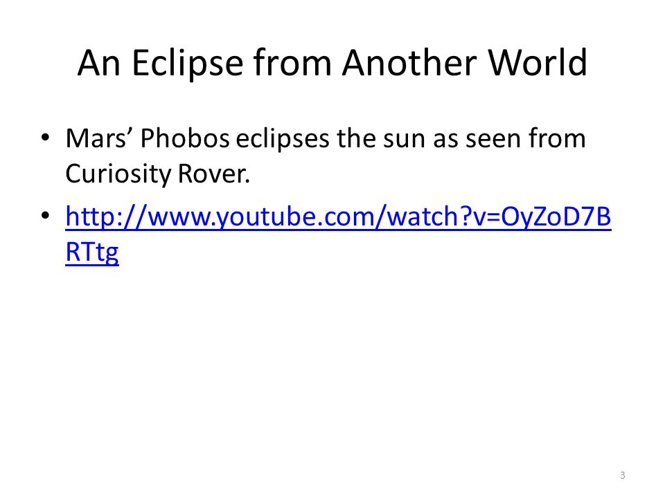 Solar Eclipse A solar eclipse occurs when the moon moves between Earth and the sun.