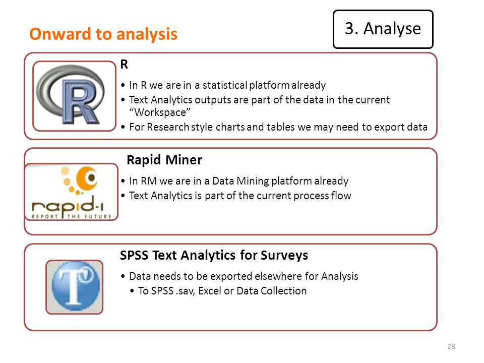 Onward to analysis 28 R In R we are in a statistical platform already Text Analytics outputs are part of the data in the current Workspace For Research style charts and tables we may need to export data Rapid Miner In RM we are in a Data Mining platform already Text Analytics is part of the current process flow SPSS Text Analytics for Surveys Data needs to be exported elsewhere for Analysis To SPSS.sav, Excel or Data Collection 3.