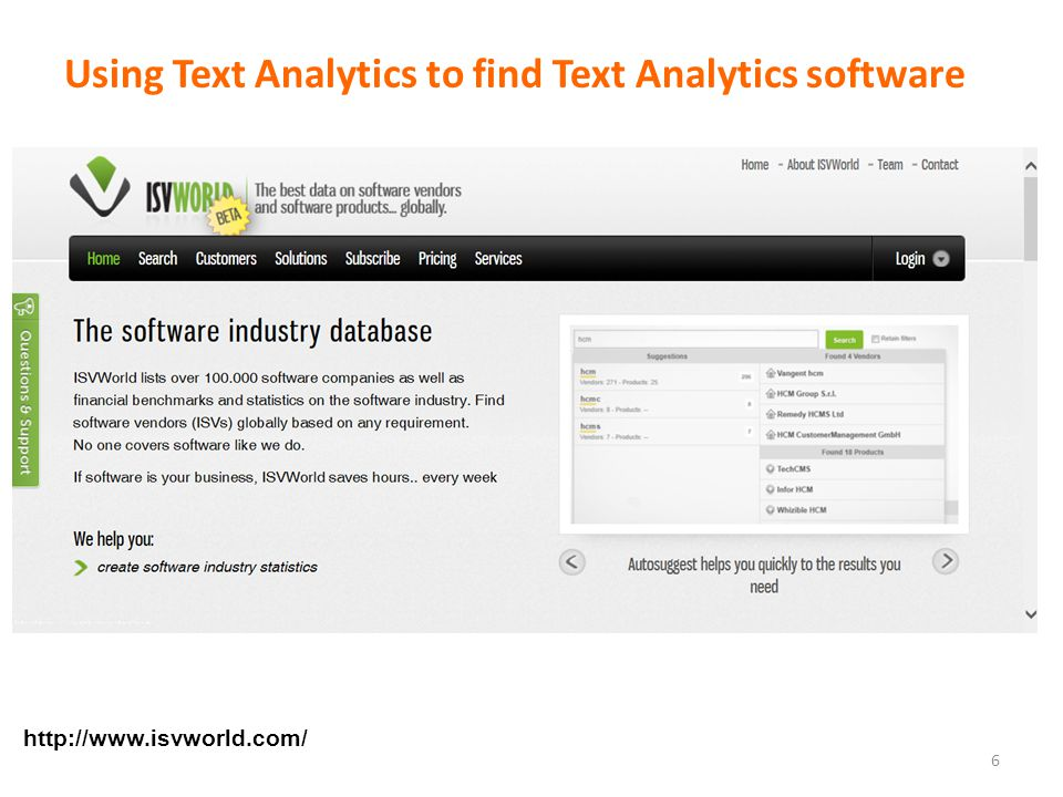 Using Text Analytics to find Text Analytics software 6 http://www.isvworld.com/