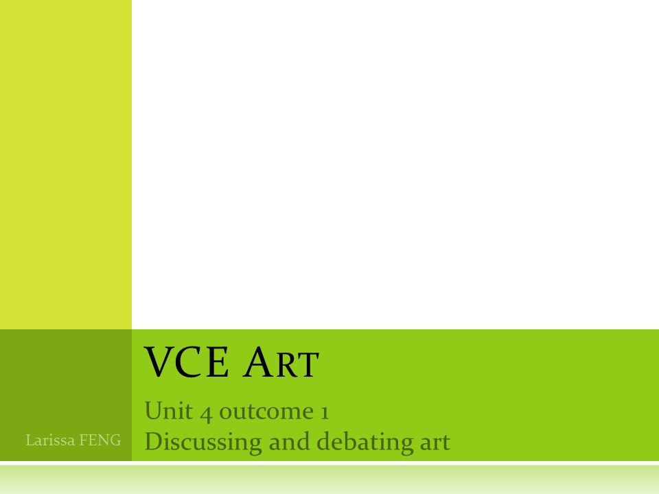 Unit 4 outcome 1 Discussing and debating art VCE A RT Larissa FENG