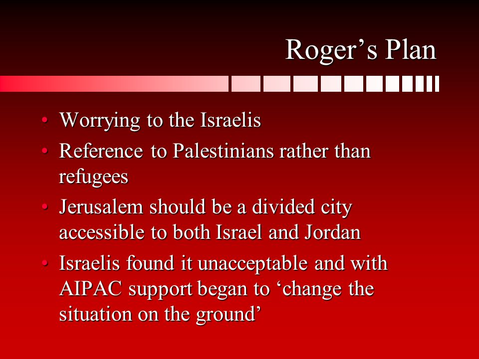 Roger's Plan Worrying to the IsraelisWorrying to the Israelis Reference to Palestinians rather than refugeesReference to Palestinians rather than refugees Jerusalem should be a divided city accessible to both Israel and JordanJerusalem should be a divided city accessible to both Israel and Jordan Israelis found it unacceptable and with AIPAC support began to 'change the situation on the ground'Israelis found it unacceptable and with AIPAC support began to 'change the situation on the ground'