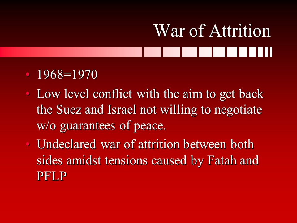 War of Attrition 1968=19701968=1970 Low level conflict with the aim to get back the Suez and Israel not willing to negotiate w/o guarantees of peace.Low level conflict with the aim to get back the Suez and Israel not willing to negotiate w/o guarantees of peace.