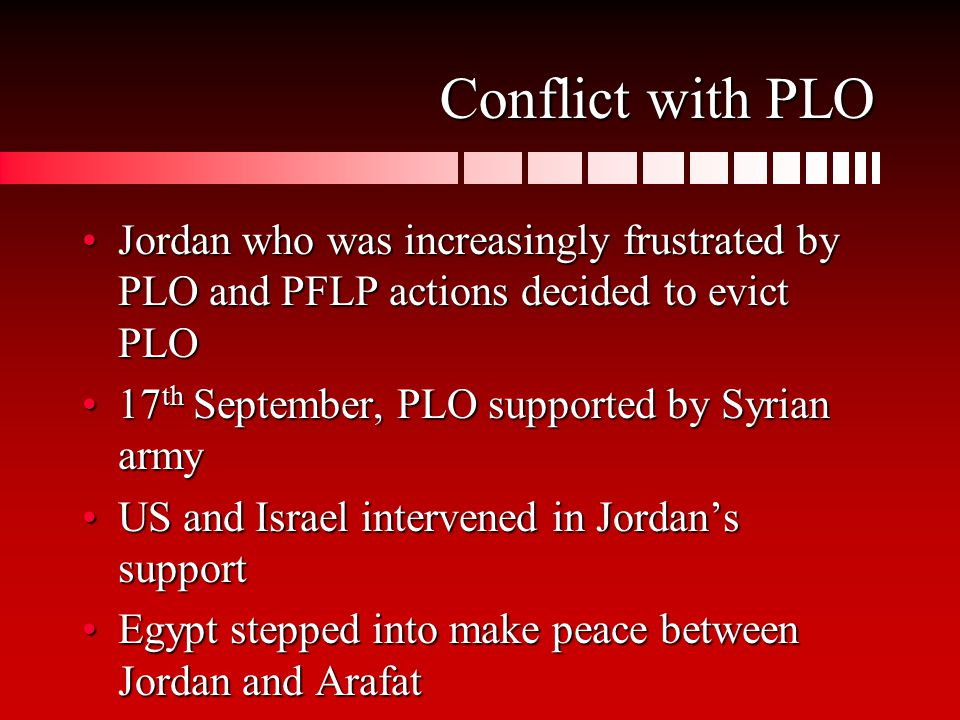 Conflict with PLO Jordan who was increasingly frustrated by PLO and PFLP actions decided to evict PLOJordan who was increasingly frustrated by PLO and PFLP actions decided to evict PLO 17 th September, PLO supported by Syrian army17 th September, PLO supported by Syrian army US and Israel intervened in Jordan's supportUS and Israel intervened in Jordan's support Egypt stepped into make peace between Jordan and ArafatEgypt stepped into make peace between Jordan and Arafat