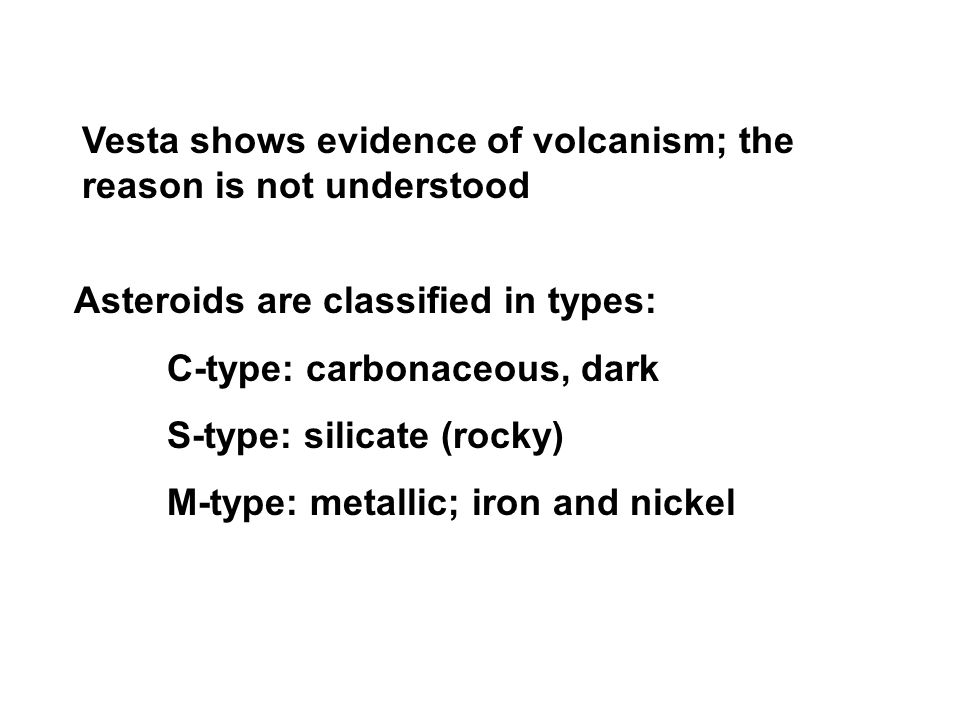 Vesta shows evidence of volcanism; the reason is not understood Asteroids are classified in types: C-type: carbonaceous, dark S-type: silicate (rocky) M-type: metallic; iron and nickel