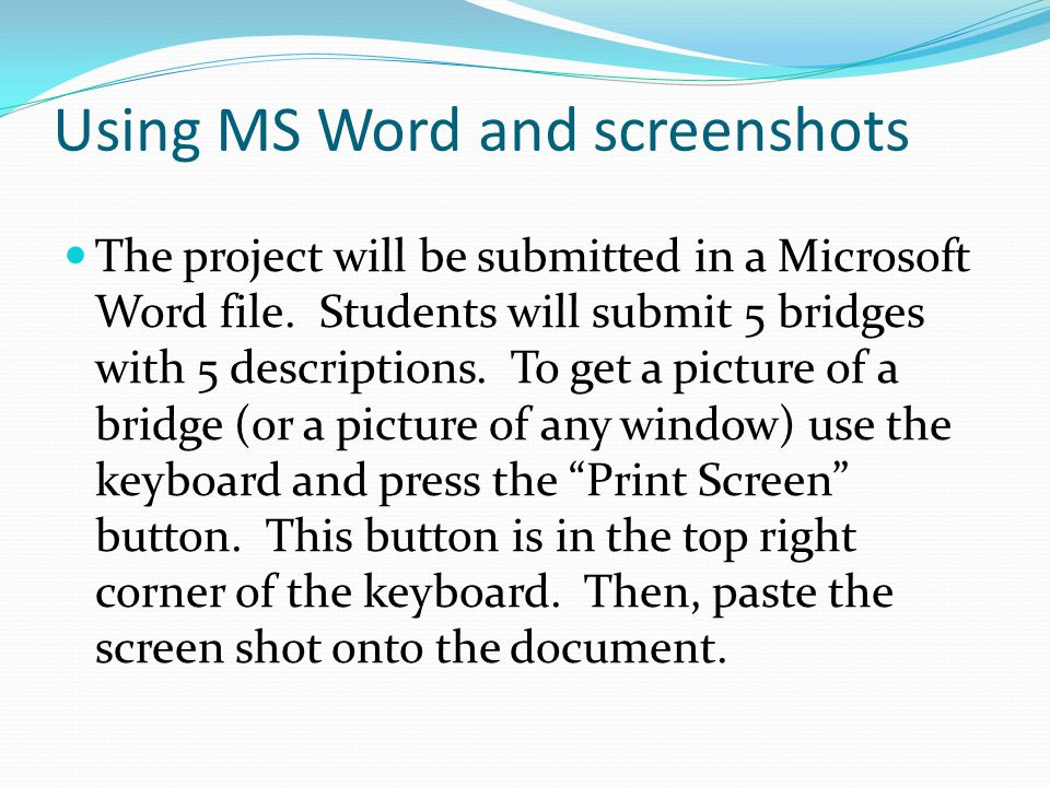 Using MS Word and screenshots The project will be submitted in a Microsoft Word file.