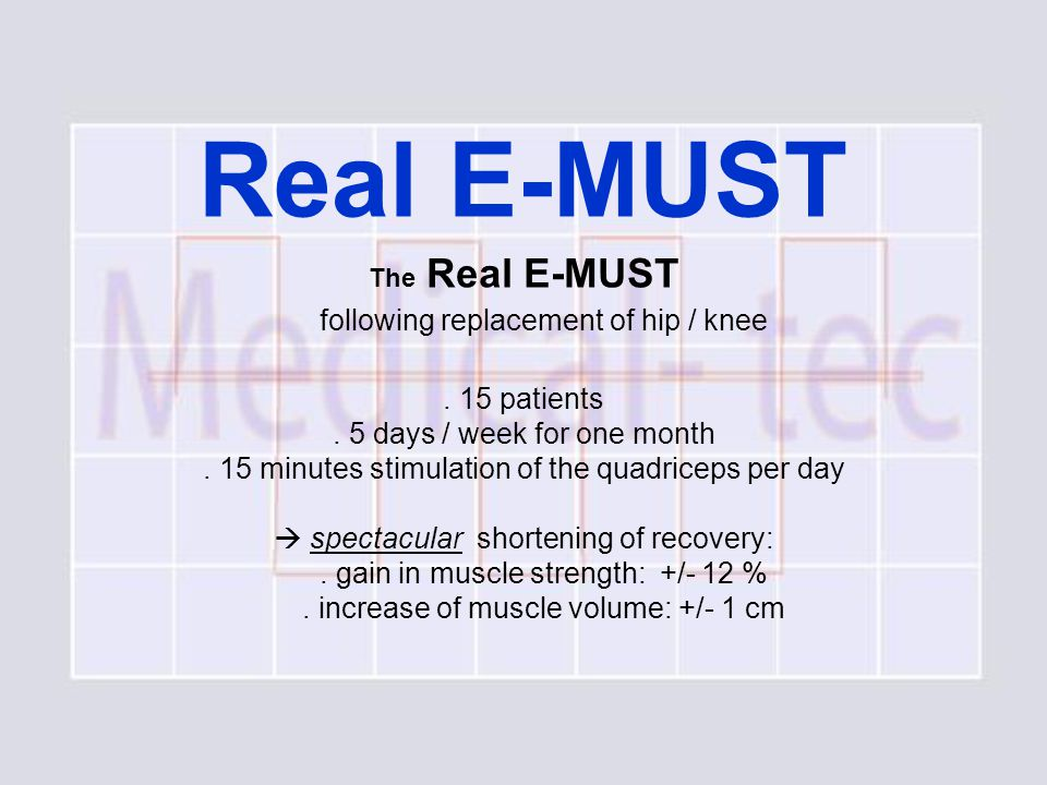 Real E-MUST The Real E-MUST following replacement of hip / knee.