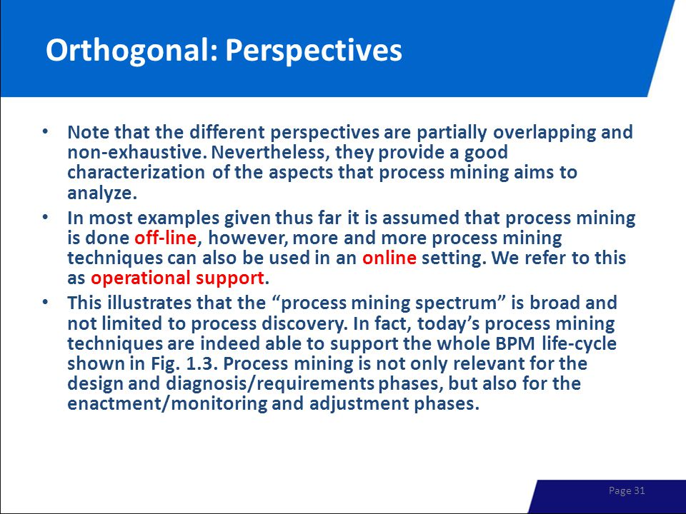 Orthogonal: Perspectives Note that the different perspectives are partially overlapping and non-exhaustive. Nevertheless, they provide a good characte
