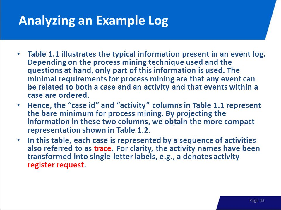Analyzing an Example Log Table 1.1 illustrates the typical information present in an event log. Depending on the process mining technique used and the