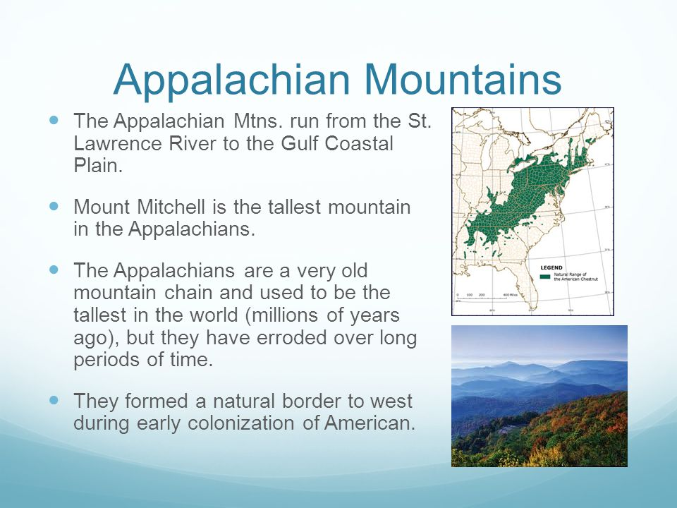 Appalachian Mountains The Appalachian Mtns. run from the St. Lawrence River to the Gulf Coastal Plain. Mount Mitchell is the tallest mountain in the A