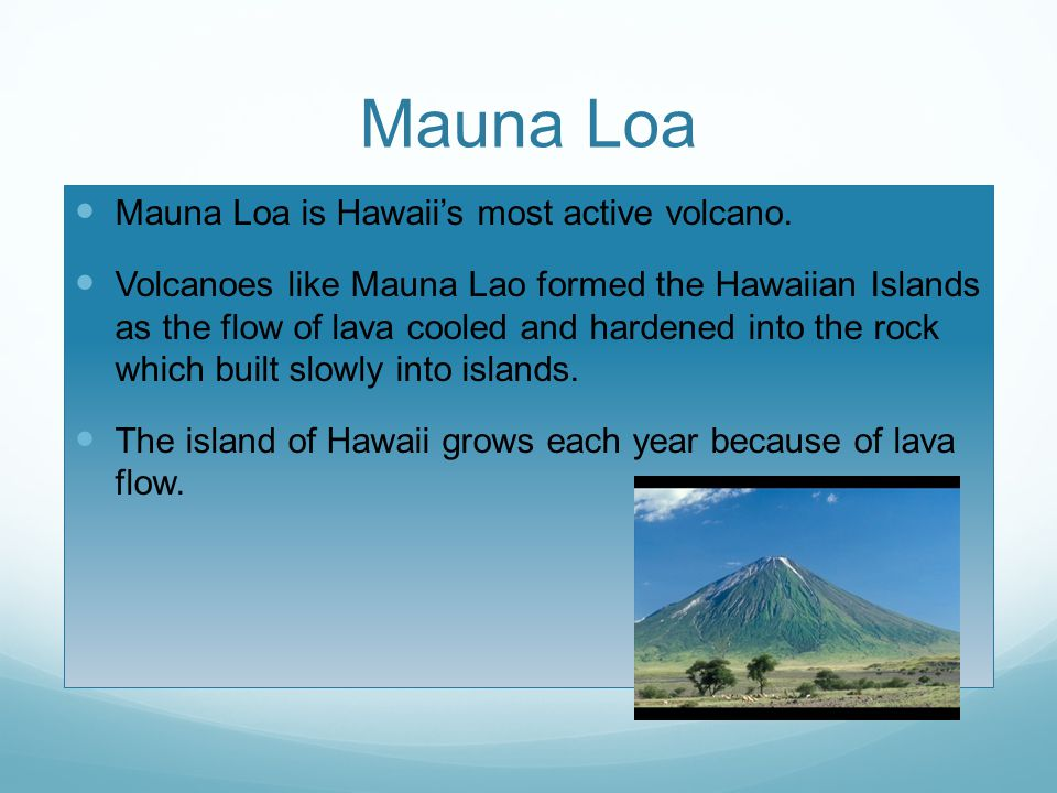 Mauna Loa Mauna Loa is Hawaii's most active volcano. Volcanoes like Mauna Lao formed the Hawaiian Islands as the flow of lava cooled and hardened into