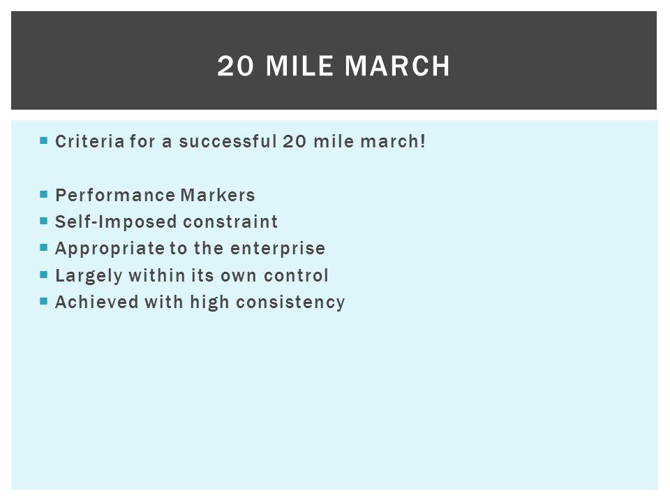  Criteria for a successful 20 mile march.