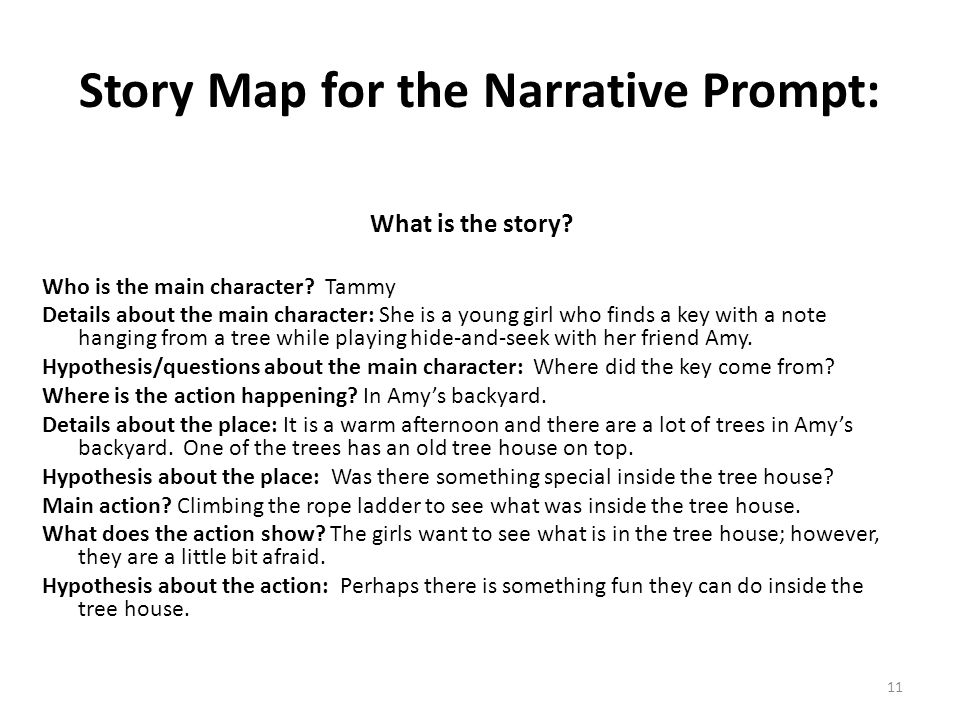 11 Story Map for the Narrative Prompt: What is the story? Who is the main character? Tammy Details about the main character: She is a young girl who f