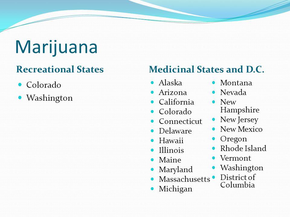 Marijuana Recreational States Medicinal States and D.C.