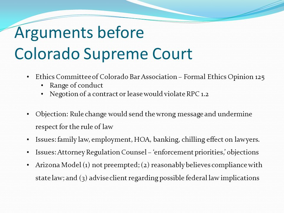 Colorado variation The same facts, but the client wants to participate in the marijuana industry: Supplier.