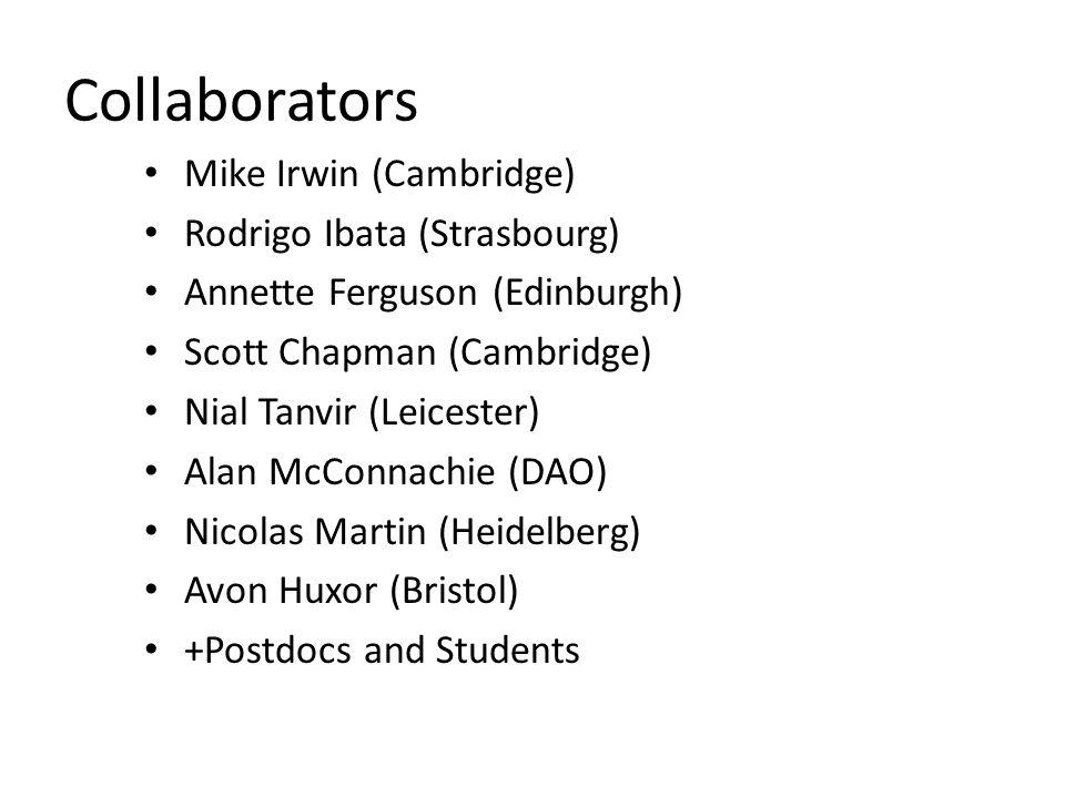 Collaborators Mike Irwin (Cambridge) Rodrigo Ibata (Strasbourg) Annette Ferguson (Edinburgh) Scott Chapman (Cambridge) Nial Tanvir (Leicester) Alan McConnachie (DAO) Nicolas Martin (Heidelberg) Avon Huxor (Bristol) +Postdocs and Students