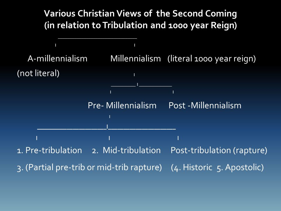 Various Christian Views of the Second Coming (in relation to Tribulation and 1000 year Reign) __________________________________ I I A-millennialism Millennialism (literal 1000 year reign) (not literal) I ____________ I ________________ I I Pre- Millennialism Post -Millennialism I _______________________I______________________ I I I 1.
