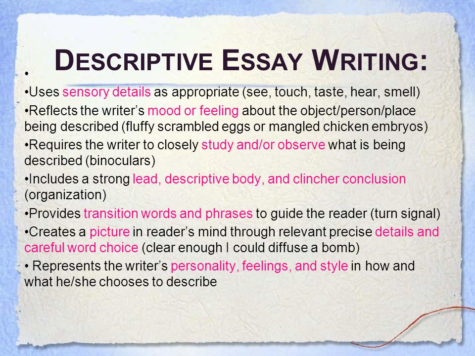 descriptive essay about a personal experience Descriptive essay a memorable childhood experience descriptive essay a memorable childhood experience the descriptive essay is often creative, personal.