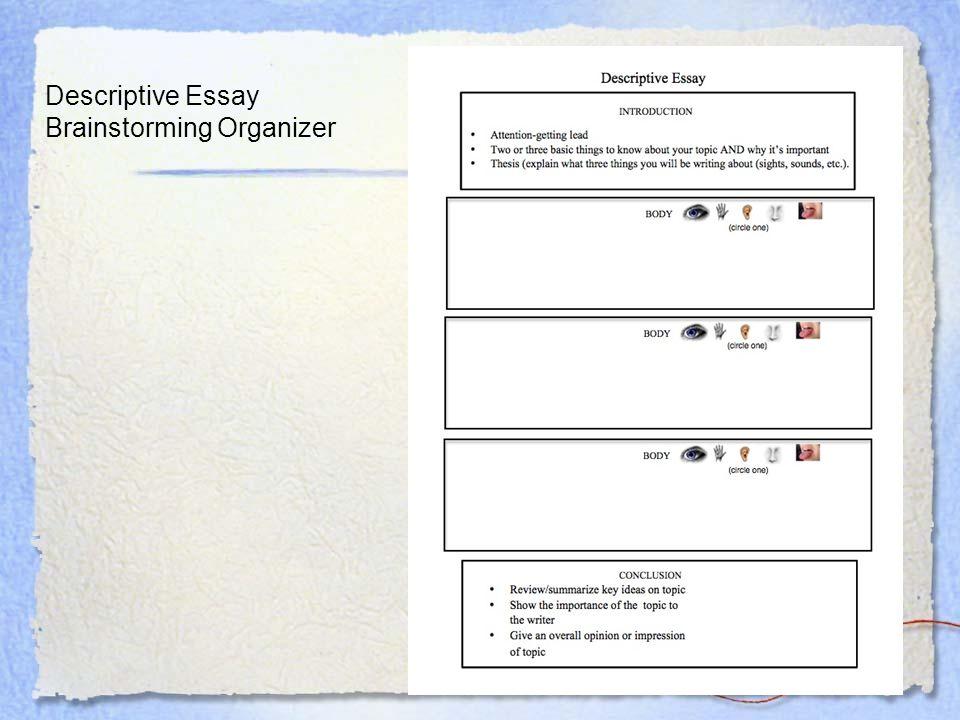 Descriptive Essay Brainstorming Organizer