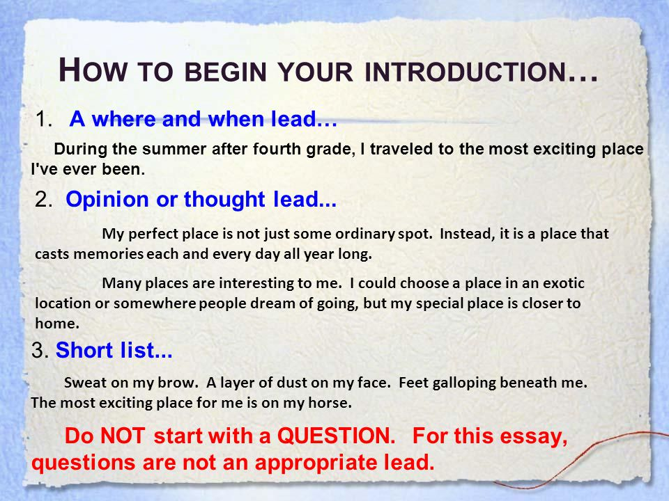 T URN YOUR LEAD INTO A FULL INTRODUCTION What is needed.